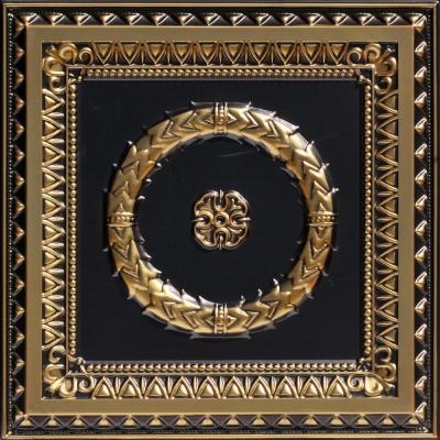 Laurel Wreath 2 ft. x 2 ft. PVC Glue-up or Lay-in Ceiling Tile in Antique Brass
