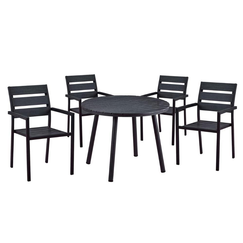 Modern Contemporary 5 Piece Black Metal Outdoor Dining Set With Slatted  Faux Wood And Stackable