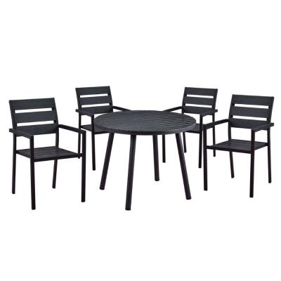 Modern Contemporary 5-Piece Black Metal Outdoor Dining Set with Slatted Faux Wood and Stackable Chairs