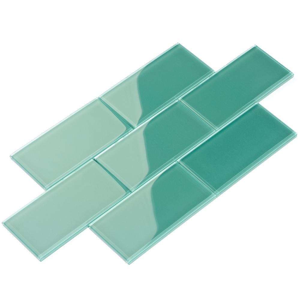 - Giorbello Teal 3 In. X 6 In. X 8 Mm Glass Subway Tile (5.5 Sq. Ft