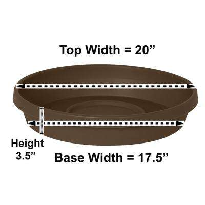Terra 20 in. Chocolate Plastic Plant Saucer Tray