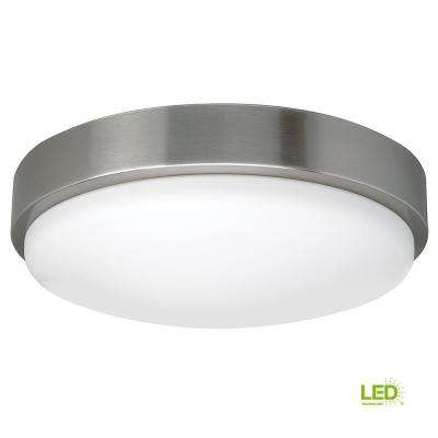 Bluetooth Compatible 14 in. Round Brushed Nickel 100 Watt Equivalent Flushmount with Color Tunable Feature (Dimmable)