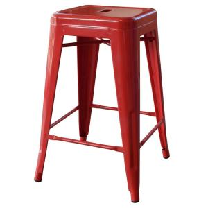 Swell Loft Style 24 In Stackable Metal Bar Stool In Red Cjindustries Chair Design For Home Cjindustriesco