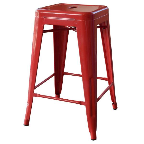 Loft Style 24 in. Stackable Metal Bar Stool in Red