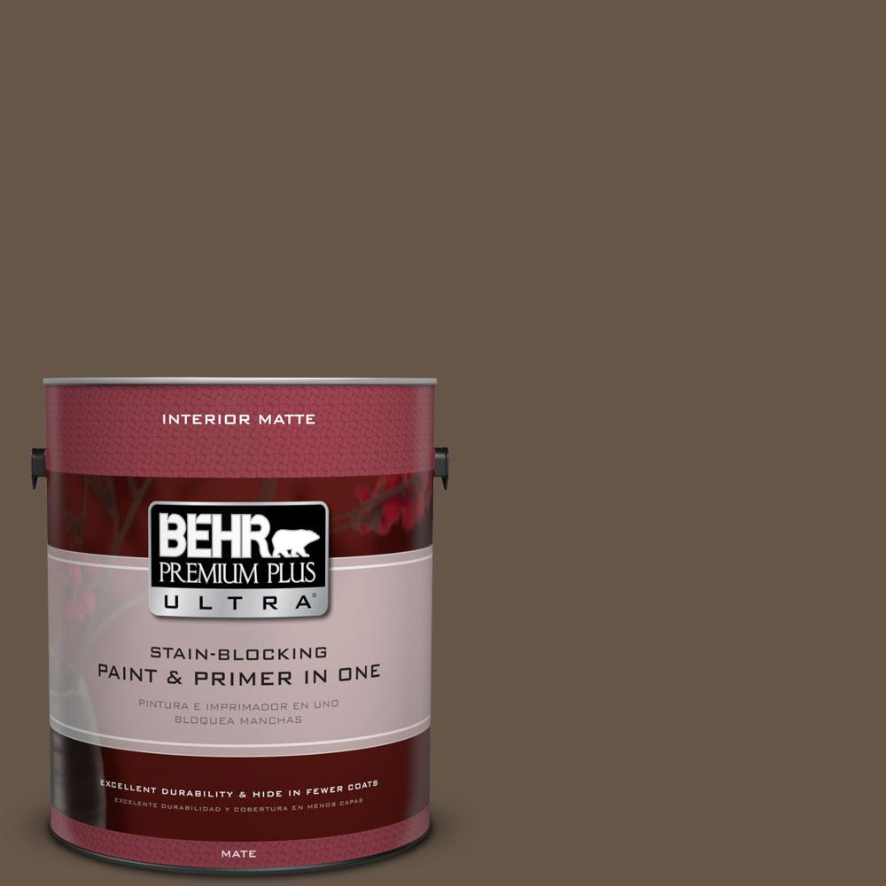 BEHR Premium Plus Ultra 1 gal. #N220-7 Cavalry Brown Matte Interior Paint, Browns/Tans