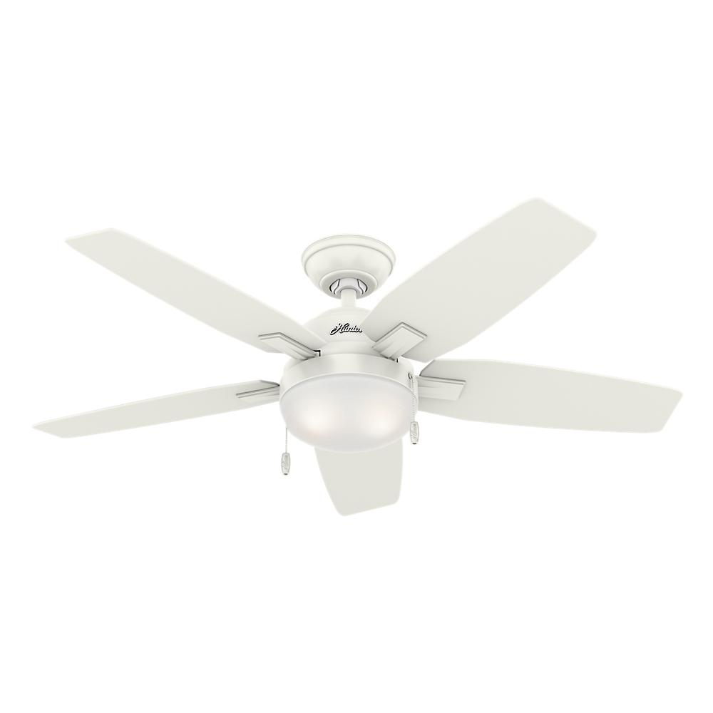 hunter antero 46 in led indoor fresh white ceiling fan with light