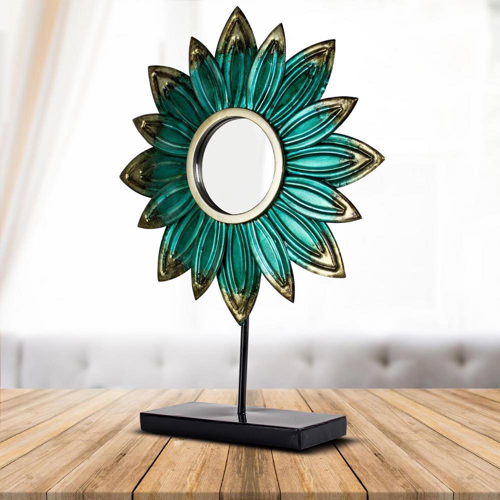 Turquoise Metal Flower Sculpture