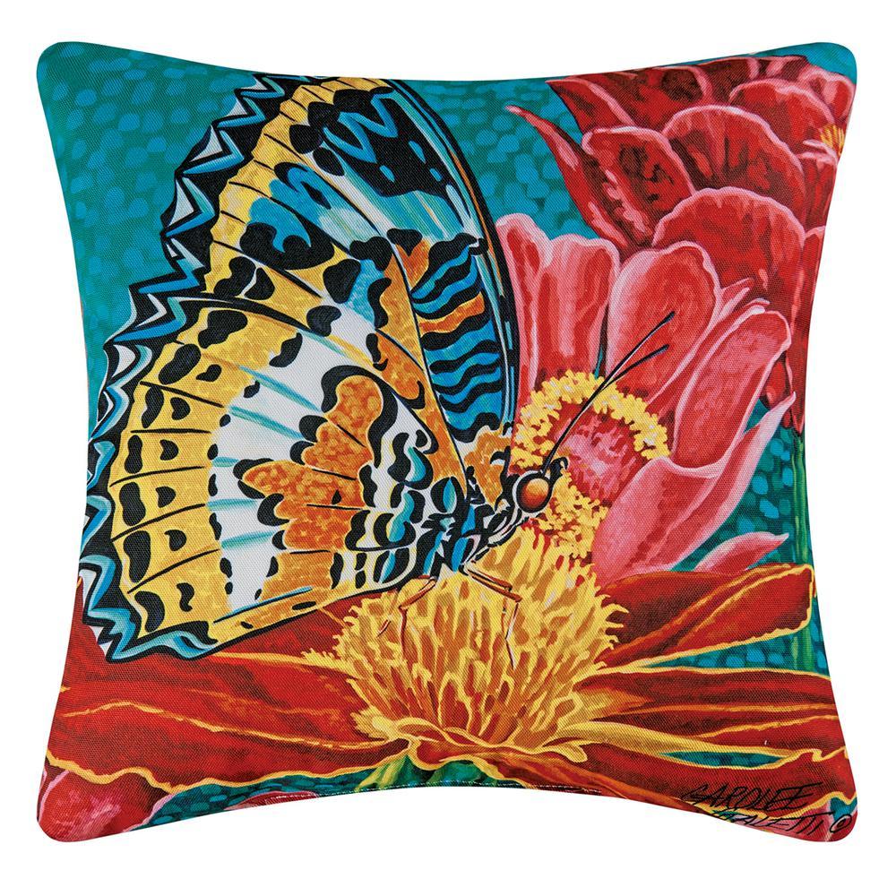 Blue Butterfly Indoor/Outdoor 18 in. x 18 in. Standard Throw Pillow