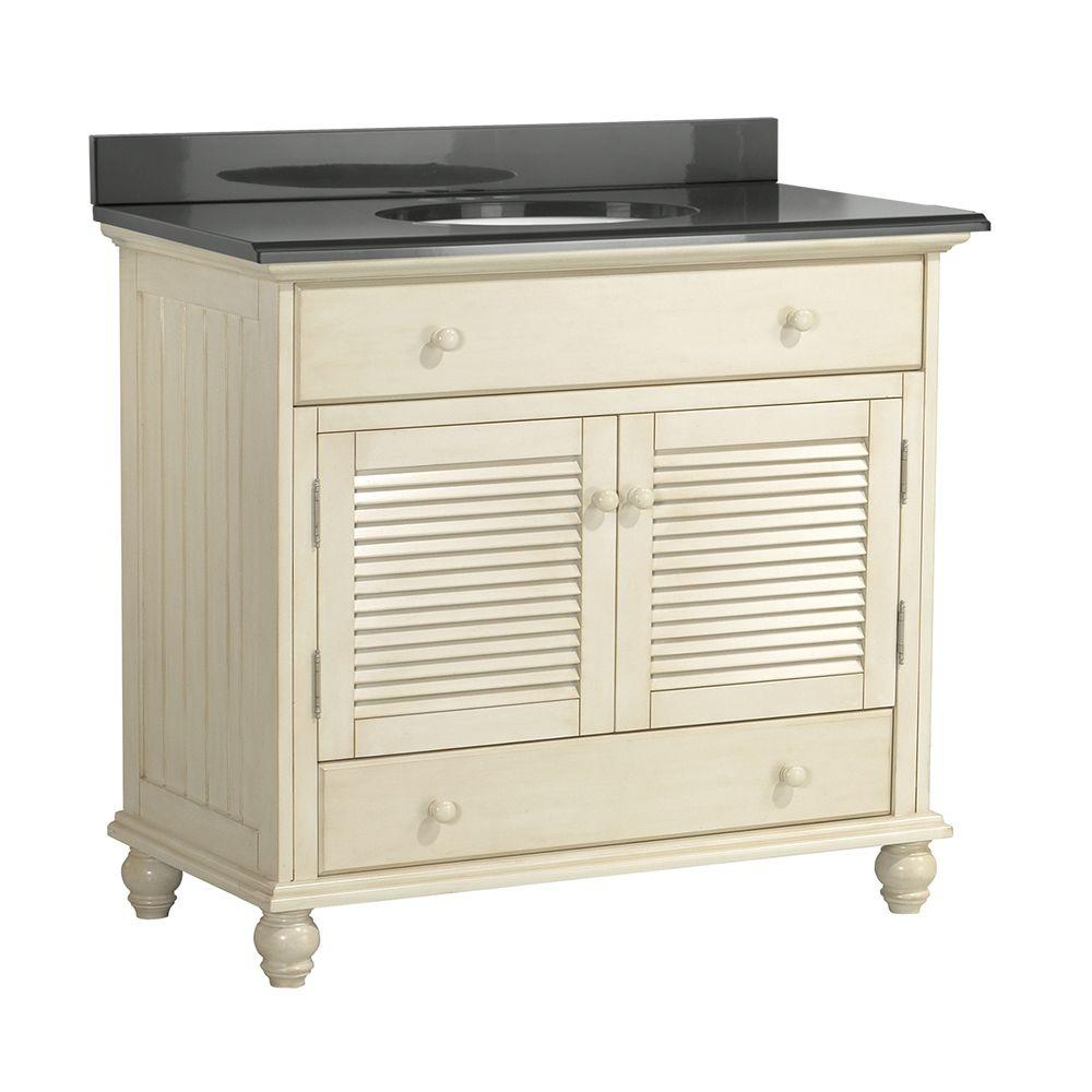 Home Decorators Collection Cottage 37 in. W x 22 in. D Vanity with Colorpoint Vanity Top in Black