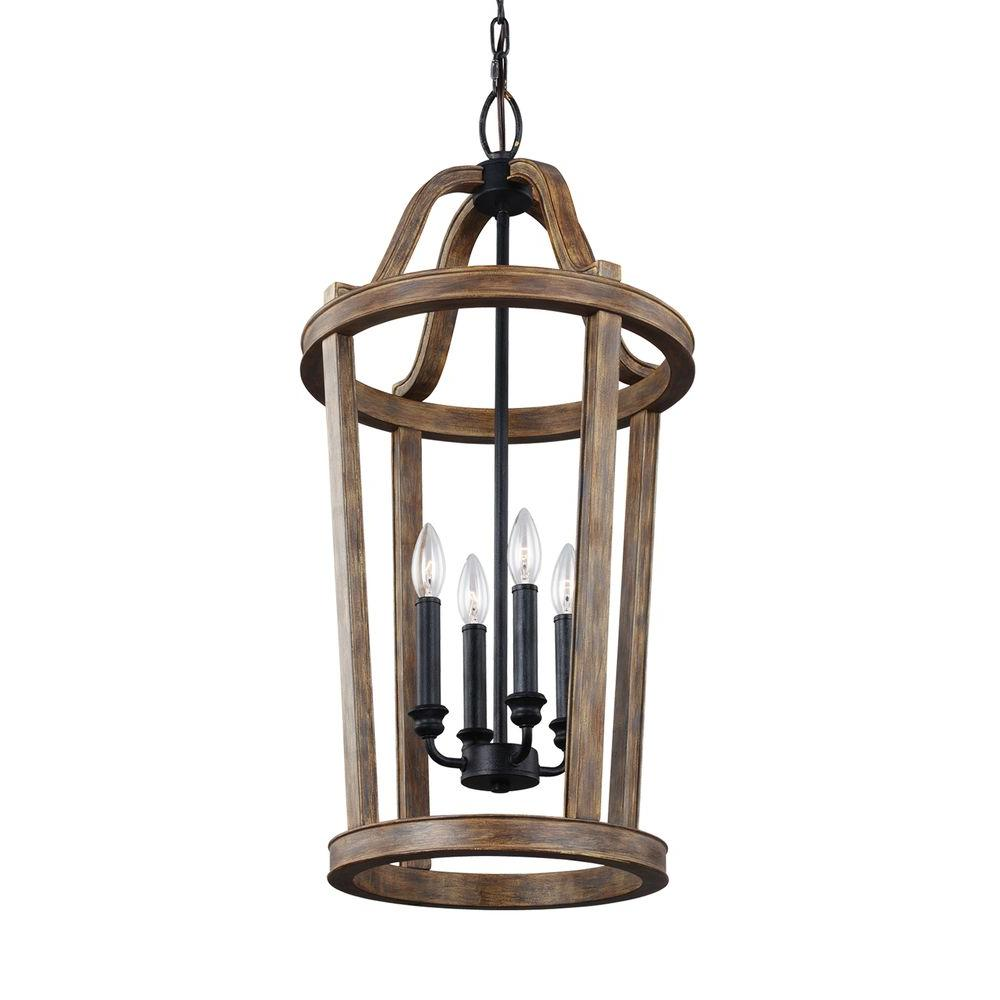 Lorenz 4-Light Weathered Oak Wood and Dark Weathered Zinc Indoor Pendant