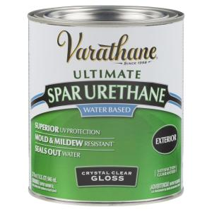1 qt. Clear Gloss Water-Based Exterior Spar Urethane (2-Pack)
