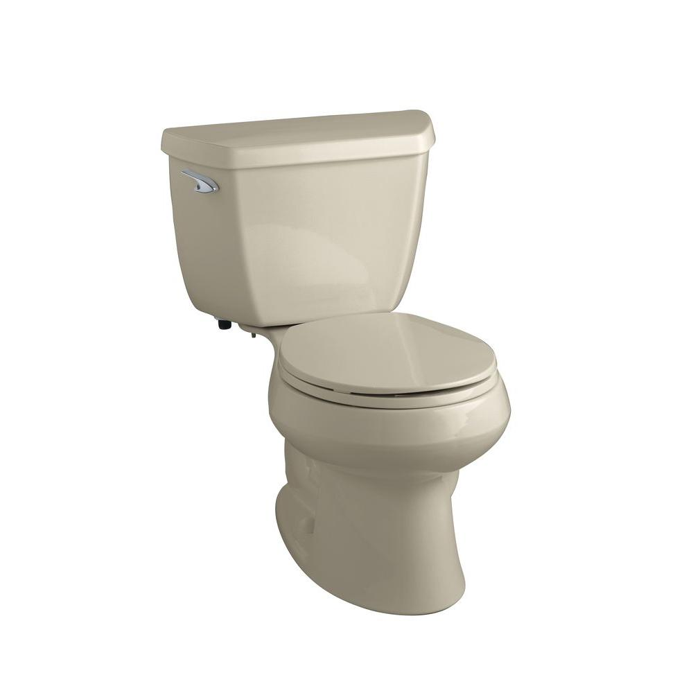 KOHLER Wellworth Classic 2-Piece 1.6 GPF Round Front Toilet with Class Five Flushing Technology in Sandbar-DISCONTINUED