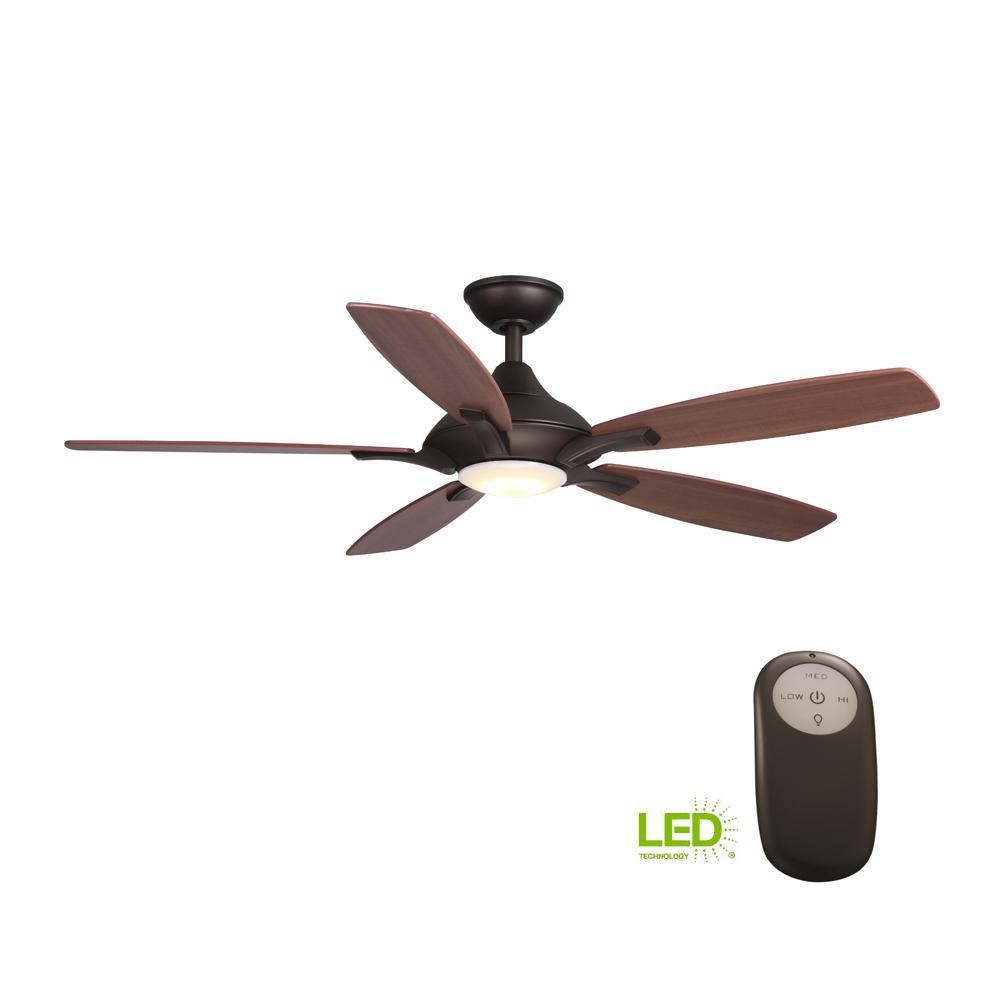 Home Decorators Collection Petersford 52 In Integrated Led Indoor Oil Rubbed Bronze Ceiling Fan With Light Kit And Remote Control