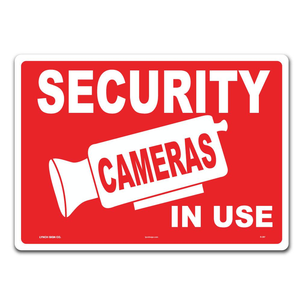 lynch sign 14 in x 10 in security cameras in use sign