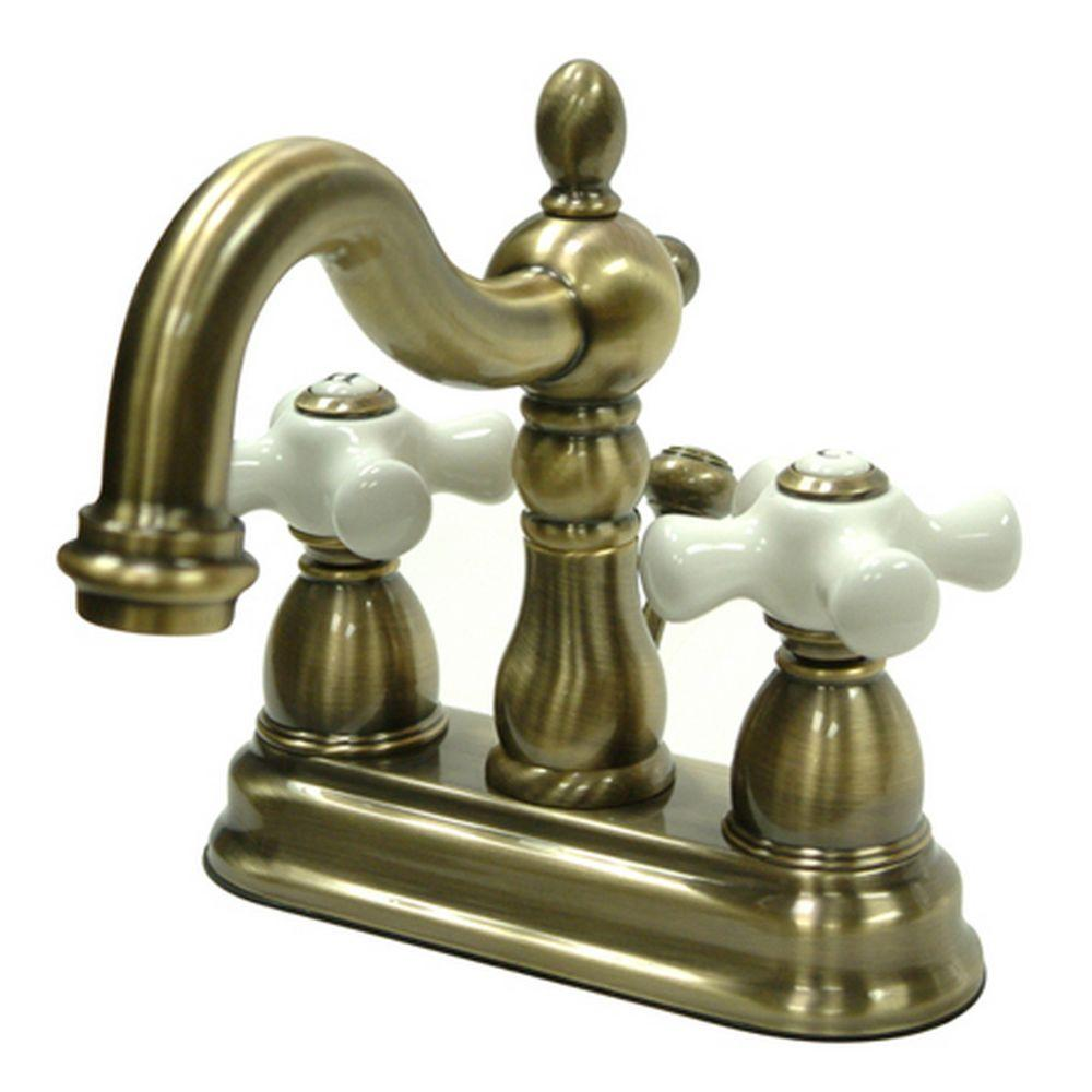 Kingston brass victorian 4 in centerset 2 handle bathroom faucet in vintage brass hkb1603px Antique brass faucet bathroom