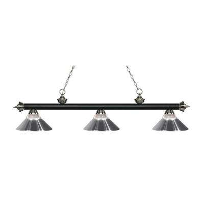 Nelis 3-Light Matte Black and Brushed Nickel Island Light with Ribbed Glass and Chrome Shades