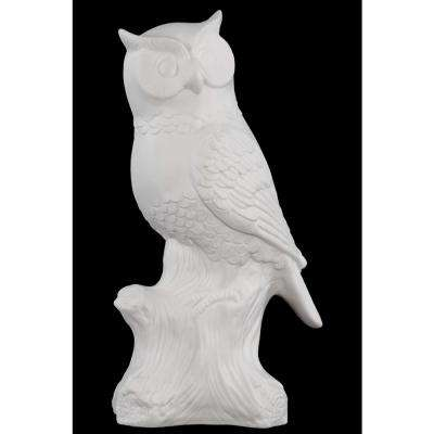 10.75 in. H Owl Decorative Figurine in White Matte Finish