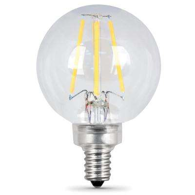 60W Equivalent Soft White G16.5 Dimmable Clear Filament LED Candelabra Base Light Bulb (Case of 24)