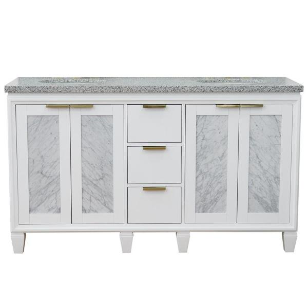61 in. W x 22 in. D Double Bath Vanity in White with Granite Vanity Top in Gray with White Oval Basins