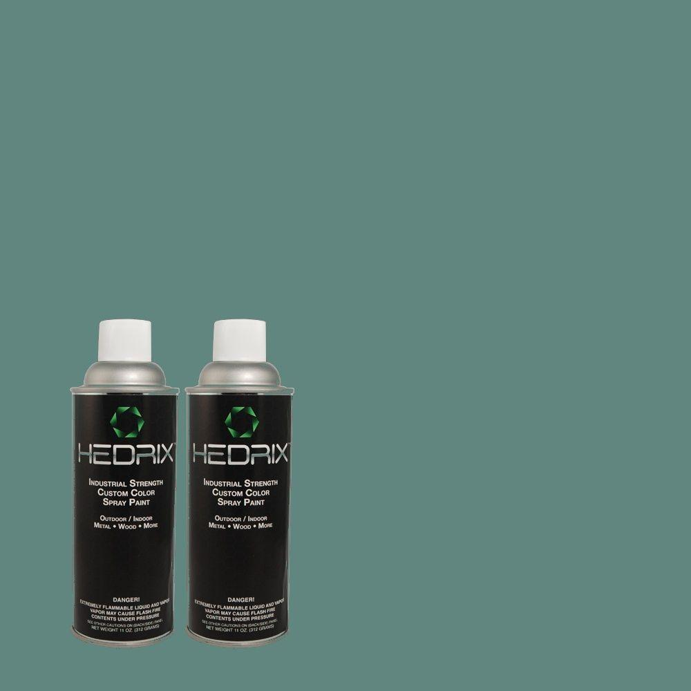 Hedrix 11 oz. Match of ICC-75 Tapestry Teal Semi-Gloss Custom Spray Paint (2-Pack)