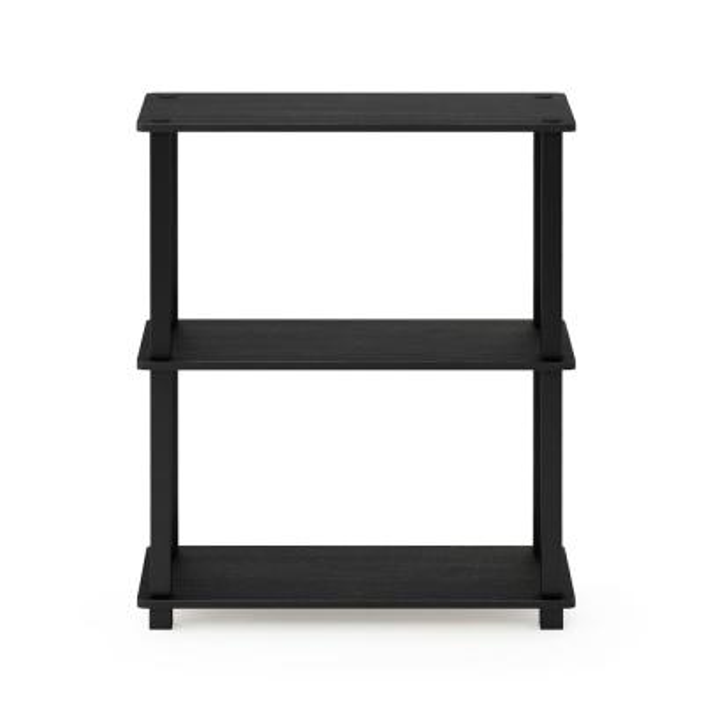 29.5 in. Americano/Black Plastic 3-shelf Etagere Bookcase with Open Back