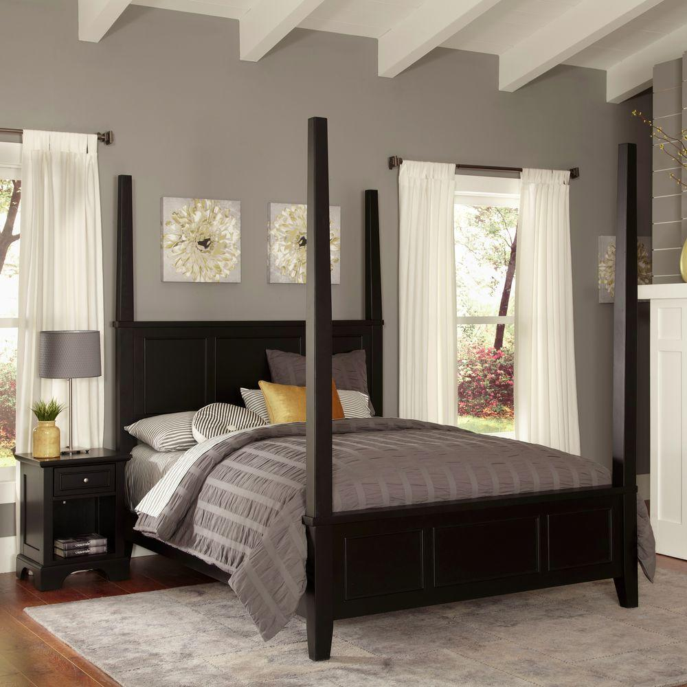 Home Styles Bedford Black King Poster Bed 5531 620 The Home Depot