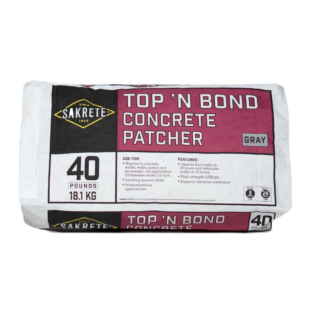 Sakrete 40 Lb Top N Bond Concrete Patcher In Gray 60201130 The Home Depot