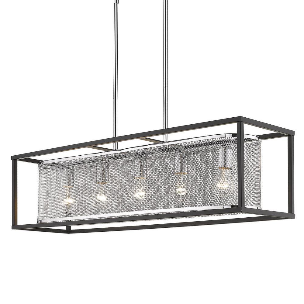 Golden Lighting London 5-Light Chrome Linear Pendant with Metal Shade