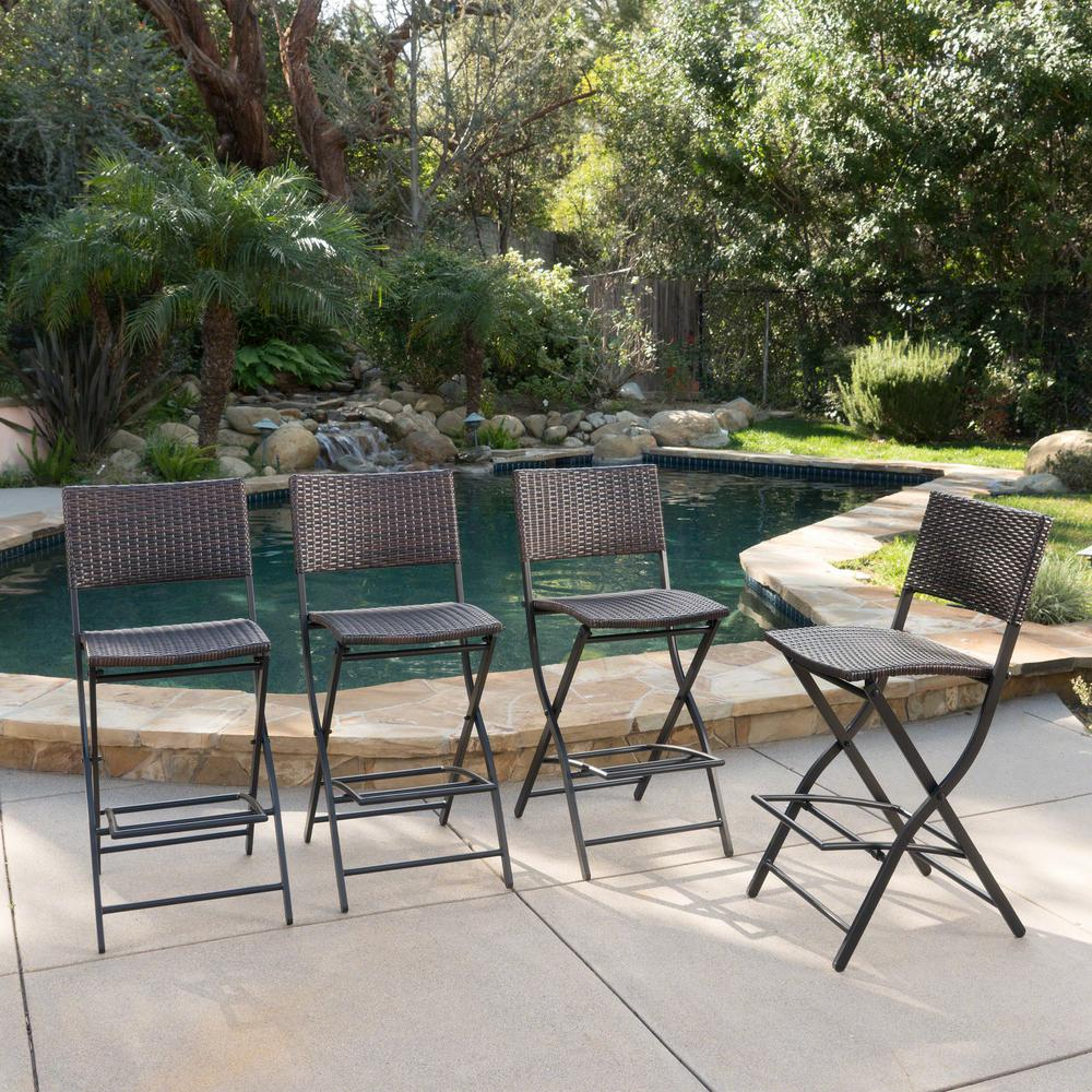 Awe Inspiring Noble House Margarita Folding Wicker Outdoor Bar Stools 4 Pack Spiritservingveterans Wood Chair Design Ideas Spiritservingveteransorg