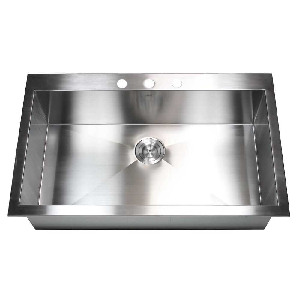 Kingsman Hardware Topmount / Drop-in 16-Gauge 36 in. x 22 in. x 10 in.  Stainless Steel Single Bowl Zero Radius Kitchen Sink