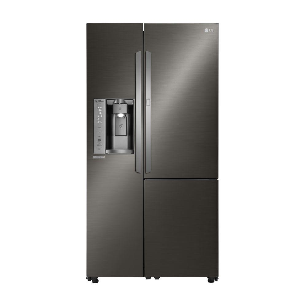 lg electronics 26 1 cu ft side by side refrigerator with door in door in black stainless steel. Black Bedroom Furniture Sets. Home Design Ideas