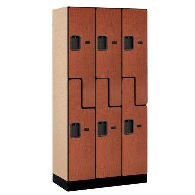 37000 Series 36 in. W x 76 in. H x 18 in. D 2-Tier S-Style Designer Wood Locker in Cherry
