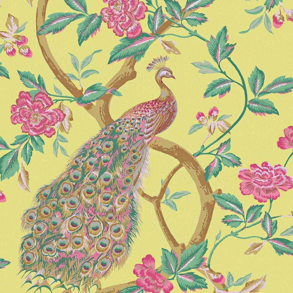 The Wallpaper Company 8 in. x 10 in. Lime Peacocks and Vines Wallpaper Sample