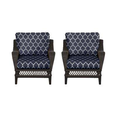 Woodbury Dark Brown Wicker Outdoor Patio Lounge Chair with CushionGuard Midnight Trellis Navy Blue Cushions (2-Pack)