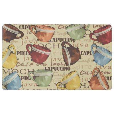 Coffee Cup Party 24 in. x 36 in. Basket Weave Printed Anti-Fatigue Kitchen Mat