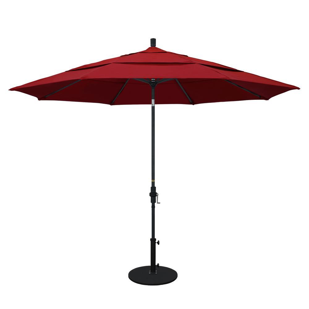 Aluminum Collar Tilt Double Vented Patio Umbrella In Red