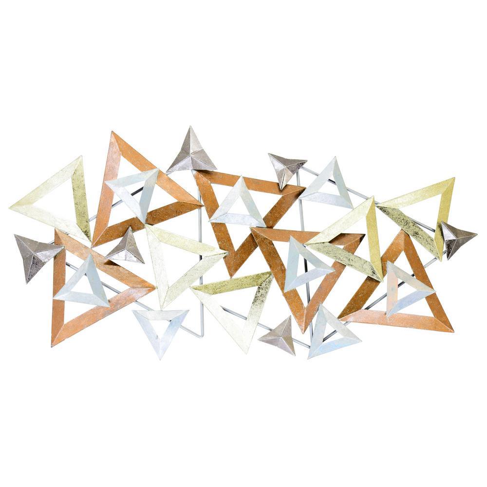 Mid Century Triangle Pattern Metal Mixed Media Wall Art