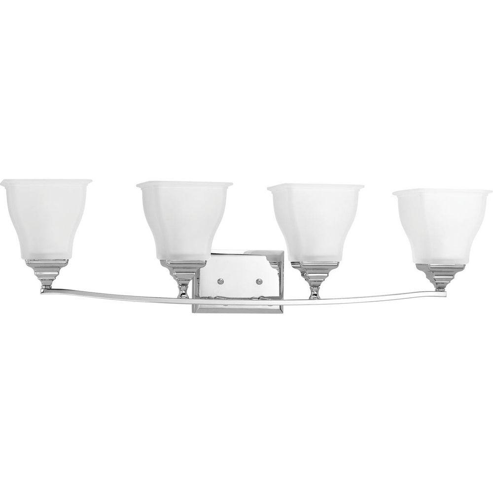 Callison Collection 4-Light Polished Chrome Vanity Light with Square Etched
