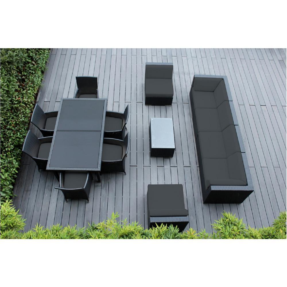 Black 14-Piece Wicker Patio Combo Conversation Set with Spuncrylic Gray Cushions