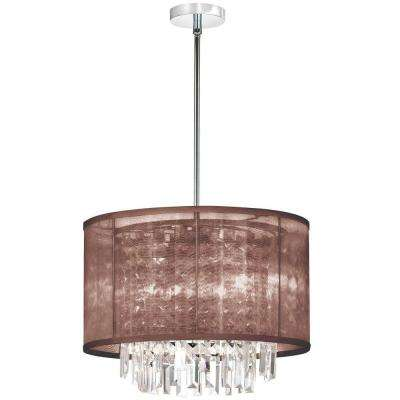 Catherine 4 Light Halogen Polished Chrome Chandelier with Brown Organza Shades