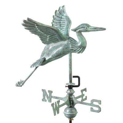 Blue Heron Garden Weathervane - Blue Verde Copper with Garden Pole