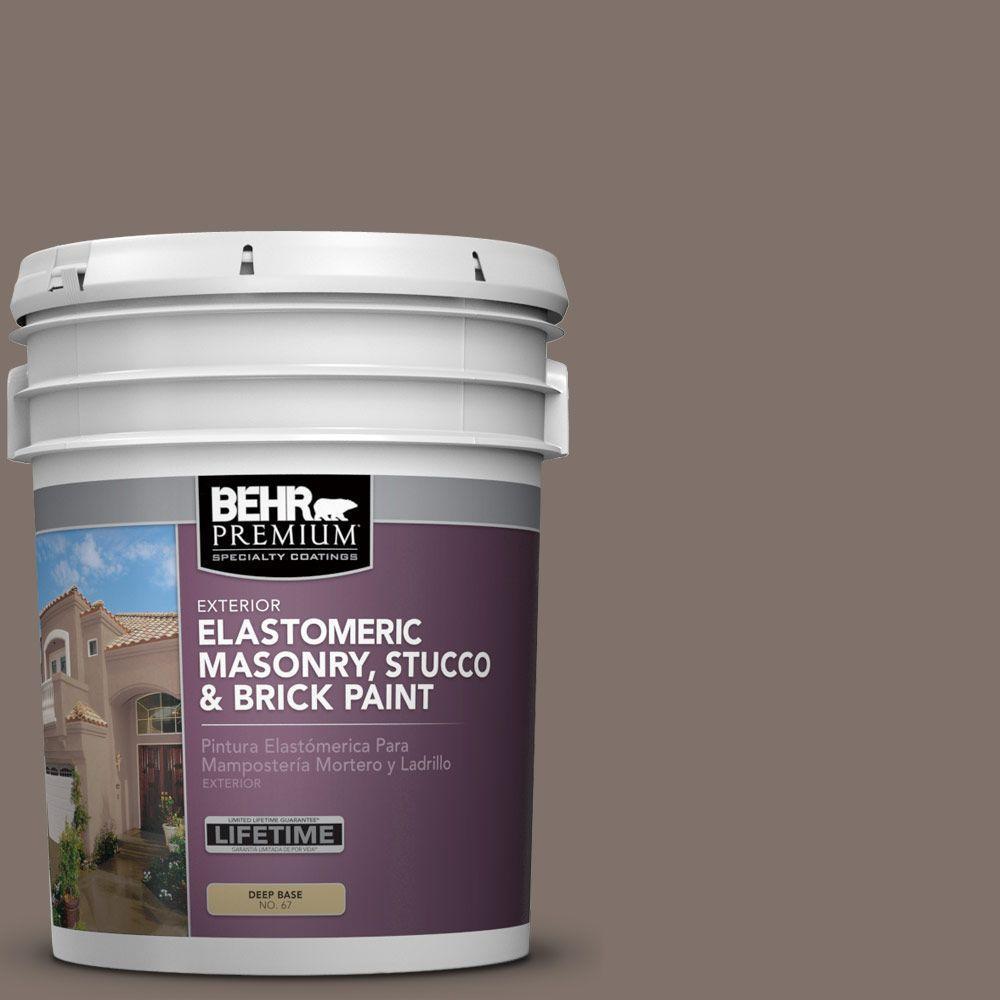 5 gal. #MS-86 Dusty Brown Elastomeric Masonry, Stucco and Brick Exterior Paint