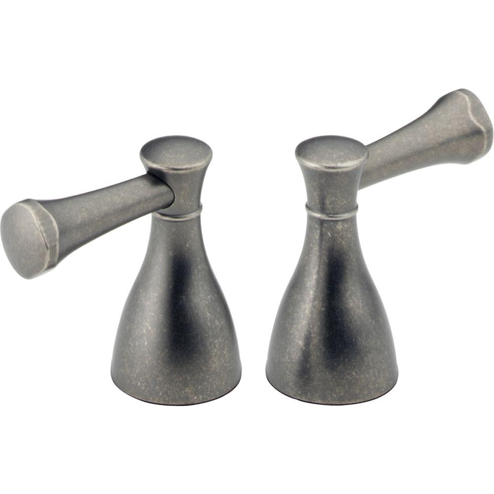Pair of Lockwood Lever Handles in Aged Pewter for 2-Handle Faucets