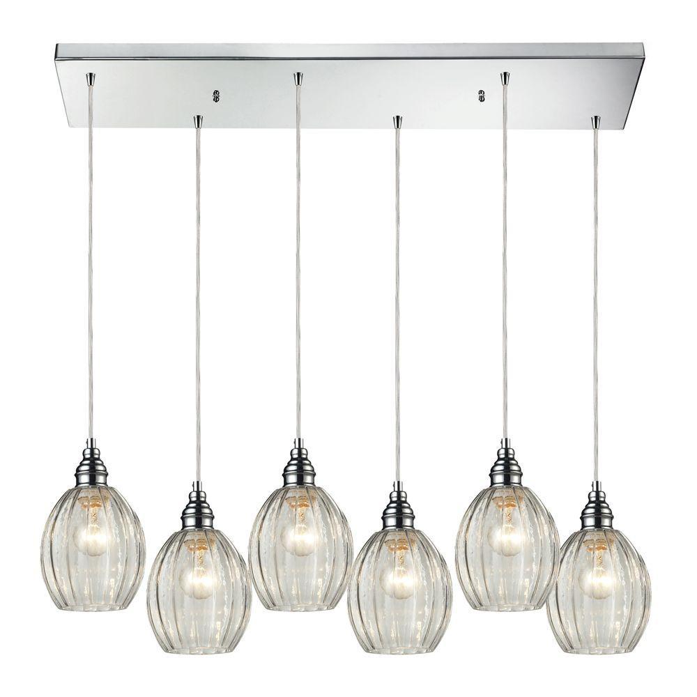 Titan Lighting Danica 6-Light Polished Chrome Ceiling Mount Pendant