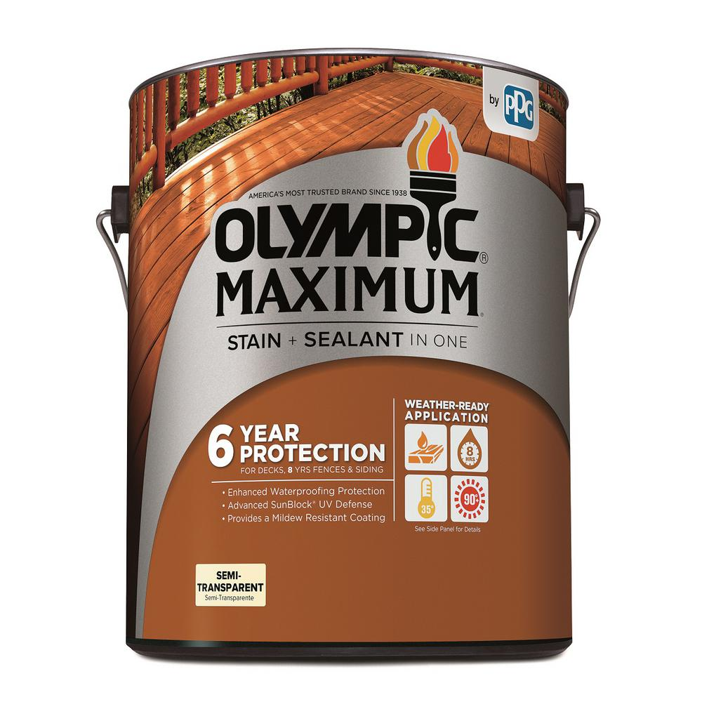 Olympic Maximum 1 gal. Neutral Base Semi-Transparent Exterior Stain and Sealant in One