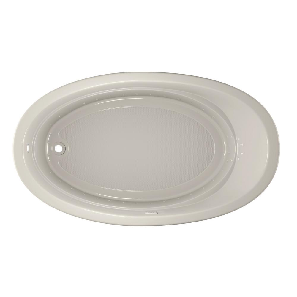 JACUZZI RIVA PURE AIR 72 in. x 42 in. Acrylic Left-Hand Drain Oval Drop-In Air Bath Bathtub in Oyster