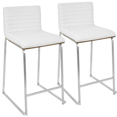 Mara 26 in. Walnut and White Counter Stool (Set of 2)