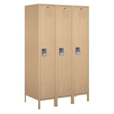18-51000 Series 3 Compartments Single Tier 54 In. W x 78 In. H x 21 In. D Metal Locker Assembled in Tan