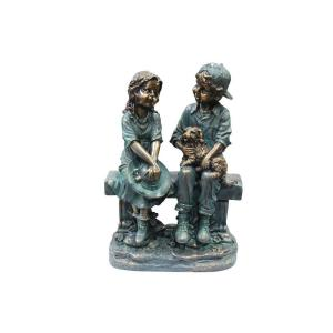 Alpine Girl and Boy Sitting on Bench with Puppy Statue by Alpine