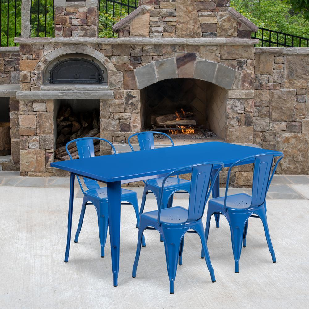 Blue 5-Piece Metal Rectangle Outdoor Bistro Set